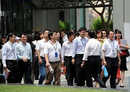 Office workers in Singapore
